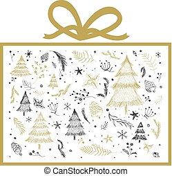 箱, 贈り物, イラスト, ベクトル, デザイン, 背景, 白い クリスマス