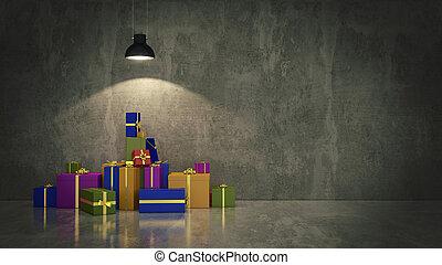 箱, 贈り物, イラスト, 3d