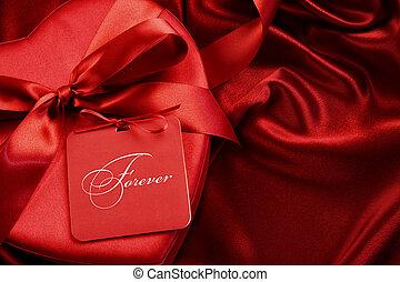 箱, 贈り物, チョコレート, 背景, サテン, カード