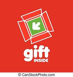箱, 贈り物, ベクトル, 背景, ロゴ, 赤