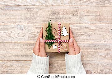 箱, 贈り物, ペーパー, 弓, 無作法, リサイクルされる, 背景, 包まれた, リボン