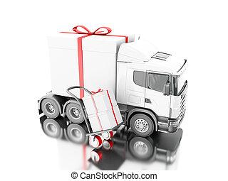 箱, 贈り物, 手トラック, 渡すこと, 3d