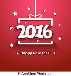 箱, 贈り物, 挨拶, ペーパー, 年, 新しい, 白, 2016, カード