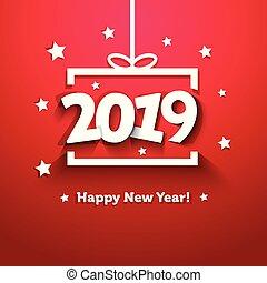 箱, 贈り物, 挨拶, ペーパー, 2019, 年, 新しい, 白, カード