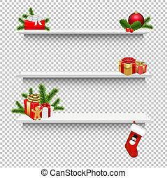 箱, 贈り物, 棚, 透明, 背景, クリスマス, 空