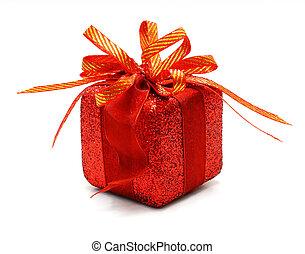 箱, 贈り物, 金船首, 隔離された, 背景, 白い クリスマス, リボン
