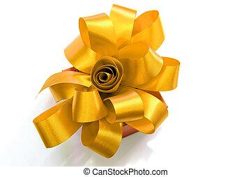 箱, 贈り物, 金, 結ばれた, 弓, バックグラウンド。, 白いリボン