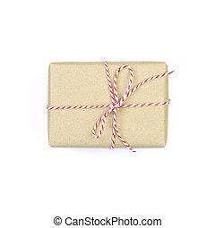箱, 贈り物, 隔離された, リサイクルされる, ペーパー, 背景, 包まれた, 白