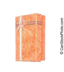 箱, 贈り物, 隔離された, 弓, オレンジ, 白いリボン