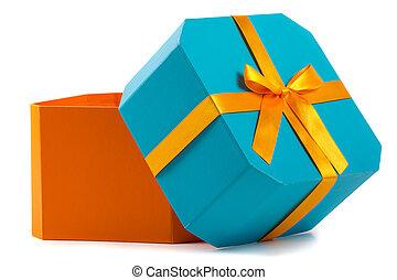 箱, 贈り物, 隔離された, 弓, オレンジ, 白, 開いた