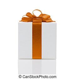 箱, 贈り物, 隔離された, 弓, ペーパー, オレンジ, 白いリボン