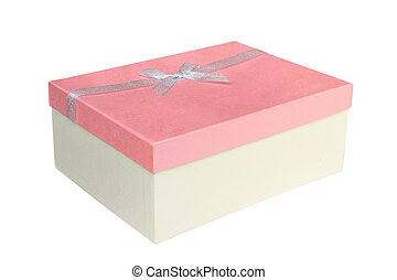 箱, 贈り物, 隔離された, 弓, ペーパー, 背景, 白いリボン
