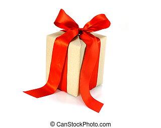 箱, 贈り物, 隔離された, 弓, リサイクルされる, ペーパー, 背景, 包まれた, 白いリボン