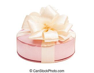 箱, 贈り物, 隔離された, 弓, 背景, 白いリボン