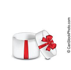 箱, 贈り物, 隔離された, 弓, 背景, 白, 開いた, 赤