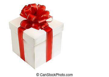 箱, 贈り物, 隔離された, 弓, white., 赤