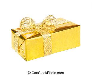 箱, 贈り物, 隔離された, 空想, 弓, 背景, 白