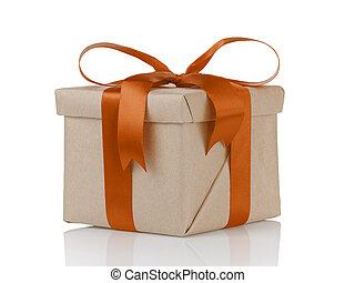 箱, 贈り物, 1(人・つ), 包まれた, ペーパー, オレンジ, クラフト, クリスマス, 弓