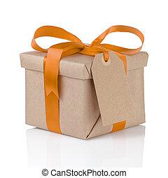 箱, 贈り物, 1(人・つ), 包まれた, ペーパー, オレンジ, 弓, クリスマス