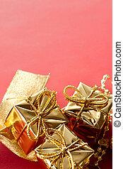 箱, 赤い背景, ギフトの弓