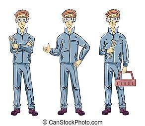 箱, 配管工, ∥あるいは∥, 保有物, イラスト, 取付け人, 提示, 隔離された, の上, バックグラウンド。, レンチ, ベクトル, 親指, 機械工, 白, gesture., 道具, 人