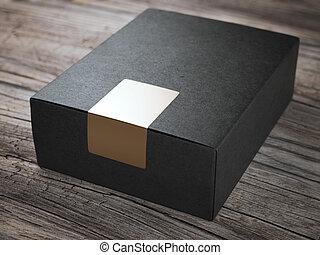 箱, 金, ステッカー, 黒