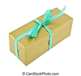 箱, 金, リボン, 贈り物, 隔離された, 緑の背景, 白