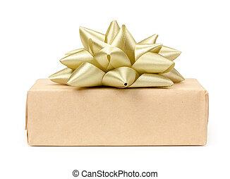箱, 金, 贈り物, ライト, 隔離された, 弓, ペーパー, 背景, プレゼント, ベージュ, 結び目, 包まれた, 白, クラフト, リボン