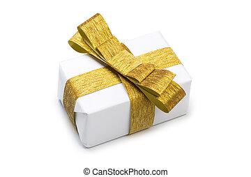 箱, 金, 贈り物, 隔離された, ペーパー, 包まれた, 白いリボン