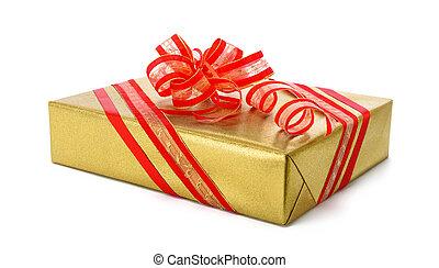 箱, 金, 贈り物, 隔離された, 弓, 赤