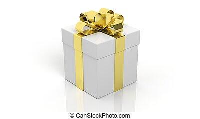 箱, 金, 贈り物, 隔離された, 背景, 白いリボン
