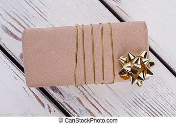 箱, 金, 贈り物, ribbon., ペーパー, 技能, パックされた