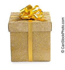 箱, 金, 金, 贈り物, reticulate, 隔離された, 弓, バックグラウンド。, ペーパー, 包まれた, 白いリボン, すてきである