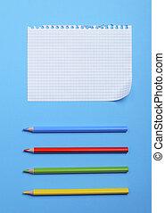 箱, 鉛筆, シート, 木製である, 多彩, 穴, ノート, ブランク, 白