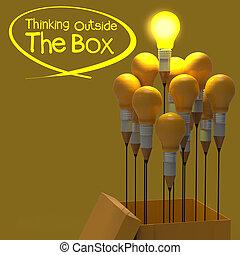 箱, 鉛筆, 概念, ライト, 考え, 創造的, 外, リーダーシップ, 電球, 図画, 考えなさい