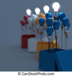 箱, 鉛筆, 概念, ライト, 考え, 図画, 外, 電球, 考えなさい