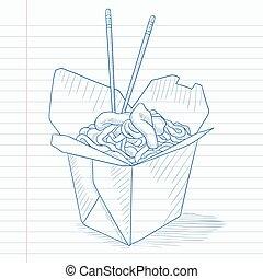 箱, 開いた, 中国語, 食品。, 取り出しなさい