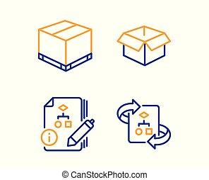 箱, 開いた, algorithm, アイコン, テクニカル, set., algorithm, 出産, ベクトル, 印。
