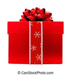 箱, 隔離された, クリスマスの ギフト, 赤