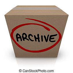 箱, 離れて, 貯蔵, の上, レコード, ファイル, 置かれた, ボール紙, アーカイブ, パックされた