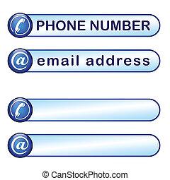 箱, 電話, メールアドレス