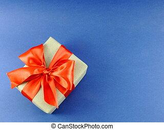 箱, 青, 贈り物, 隔離された, 弓, リサイクルされる, ペーパー, 背景, 包まれた, リボン
