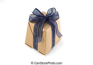 箱, 青, 隔離された, ペーパー, 背景, 白いリボン