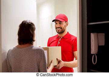 箱, 顧客, 小包, 寄付, 配達員, 幸せ