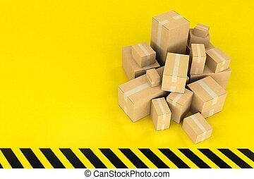 箱, 黒い背景, 黄色