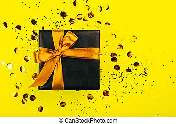 箱, 黒, 弓, 贈り物, 金