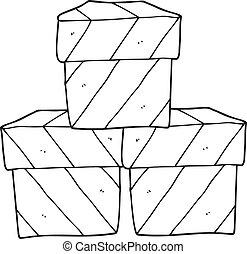 箱, 黒, 白, 贈り物, 漫画