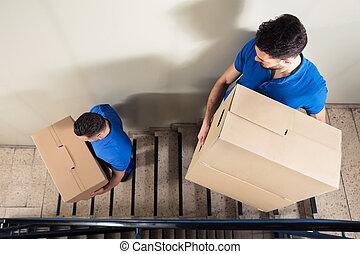 箱, 2, ボール紙, 階段, 発動機, 届く