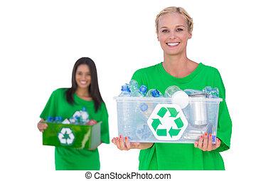 箱, activists, 環境, かなり, 保有物, recyclables