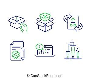 箱, algorithm, アイコン, テクニカル, set., 箱, パッキング, ベクトル, 把握